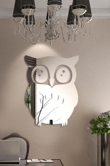 Owl Wall Sticker DIY Animal Cartoon Mirror Wall Sticker 3D Home Wall Sticker
