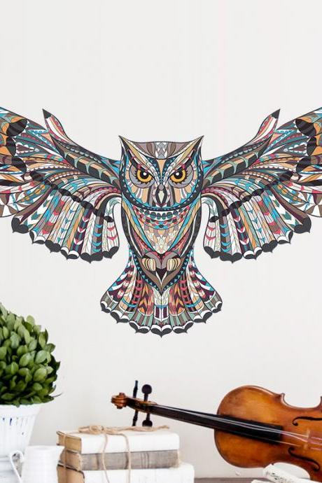 Creative Owl living Room Bedroom Wall Sticker Waterproof Home Multicolor Wall Sticker