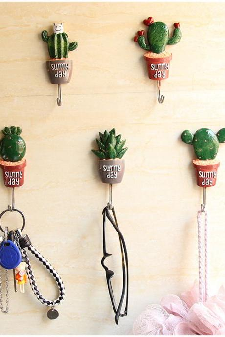 Resin Cactus Decoration Hooks Creative Home Wall Decoration Plant Hooks