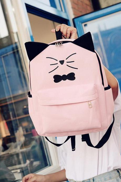 Cute Cat Ear Canvas Backpack Cartoon High Capacity Student Backpack Fashion Travel Backpack