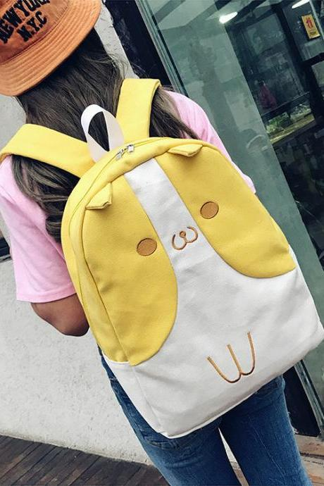 Cute Cat Ear Canvas Backpack Cartoon Coin Purse High Capacity Student Backpack Yellow Backpack