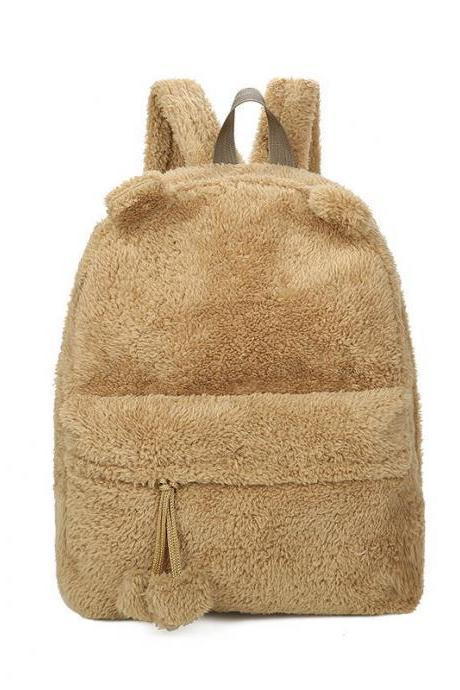 Cute Plush Bear Design Backpack for Students and Travel