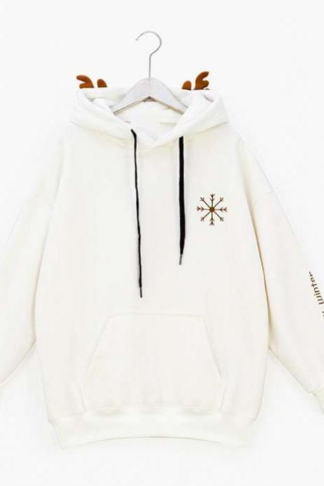 Women Cute Deer Hooded Sweatshirt Fashion Reindeer Antlers Loose Sweatshirt