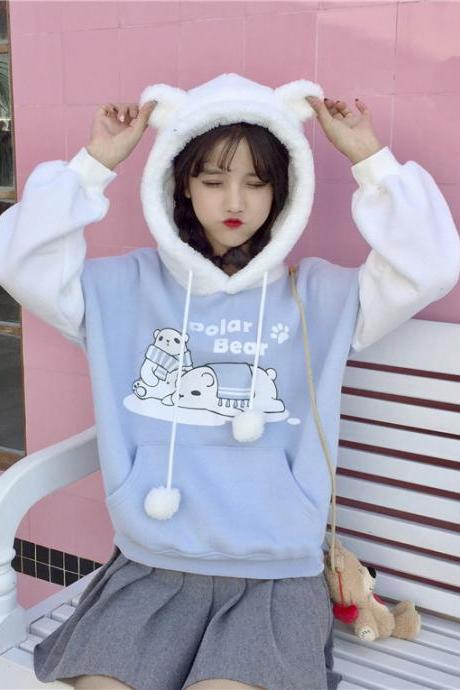 Women Cute Bear Ears Hooded Sweatshirt Fashion Student Loose Animal Cartoon Sweatshirt Coat