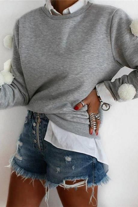 Women Fshion Gray Long Sleeve T-shirt Cute Blouse Sweatshirt