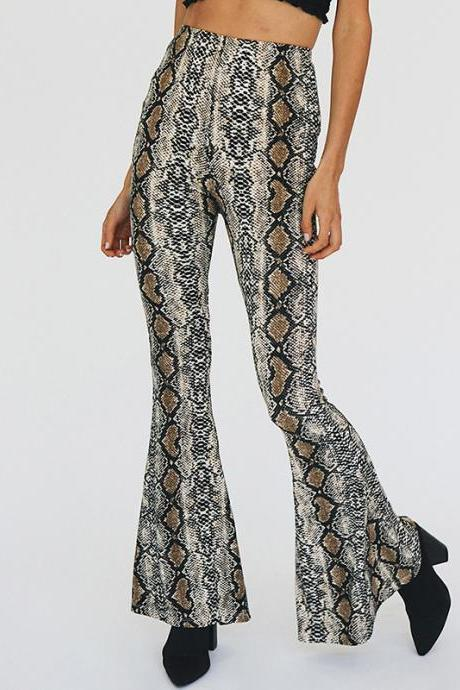 Women Fashion Serpentine Bell-bottom Trousers Personality Flare Pants