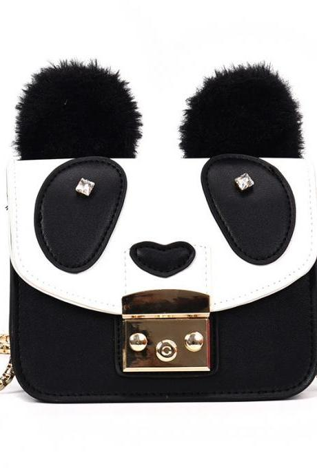 Cute Panda PU Leather Chain Bag Fashion Animal Messenger Bag