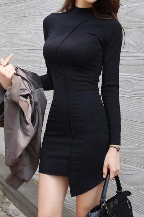 Women Sexy Black Irregular Dress Fashion Long Sleeve Bodycon Basic Dress Party Dress