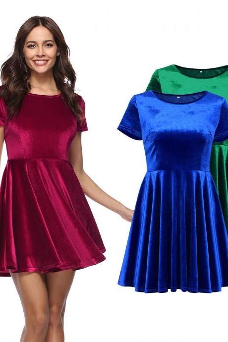 Women Fashion Velvet Dress Sexy Round Neck Basic Dress Pleated Skirt
