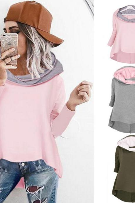 Women Fashion Loose Irregular Hooded Sweatshirt Fashion Hit Color Sweatshirt