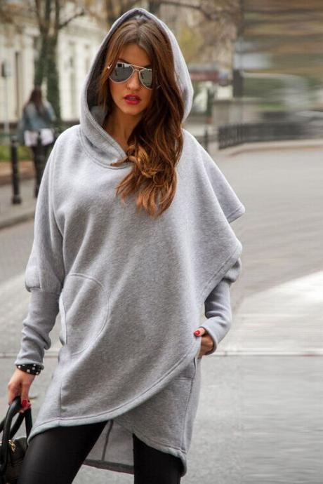 Women Fashion Irregular Long Hooded Sweatshirt Cloak Sweatshirt