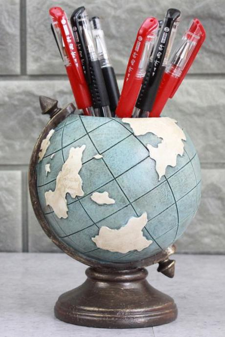 Fashion Retro Globe Brush Pot Creative Home Decoration Pen Holder