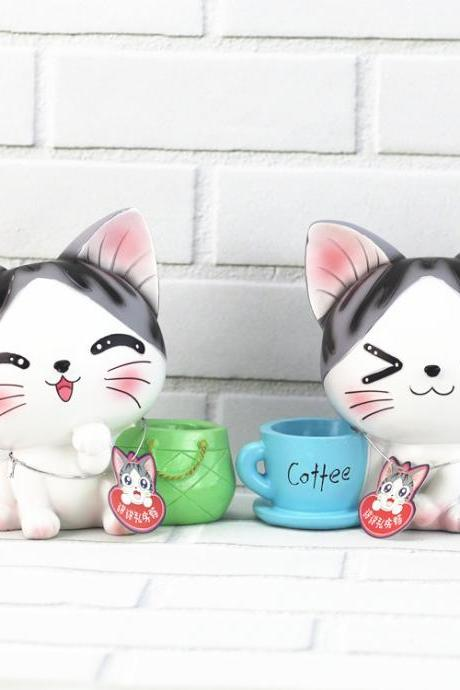 Cute Cat Pen Holder Creative Cartoon Animation Home Decoration Fashion Piggy Bank