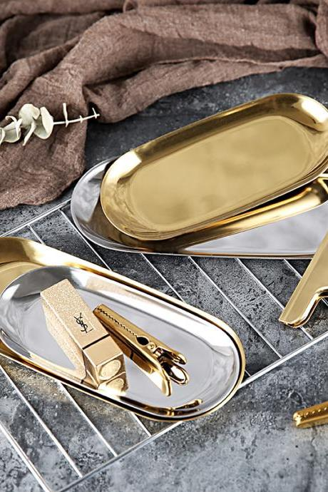 Fashion Golden Jewelry Plate Stainless Steel Tray Silver Metal Dessert Plate