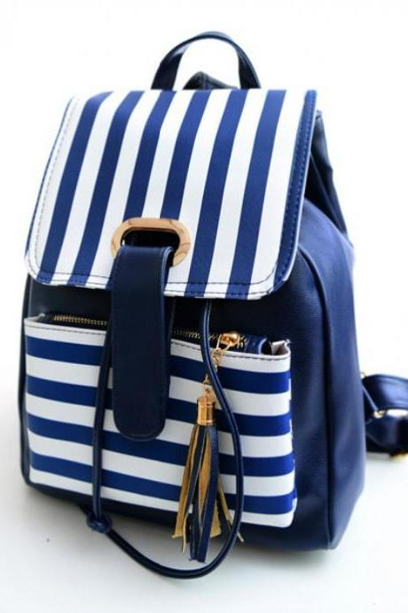 Fashion Stripe Tassel PU Backpack Personality High Capacity School Backpack