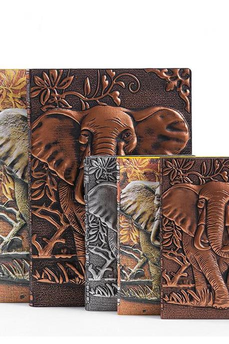 Elephant 3D Sculpture Notebook Retro PU Pocketbook Fashion Journal Memo Notepad