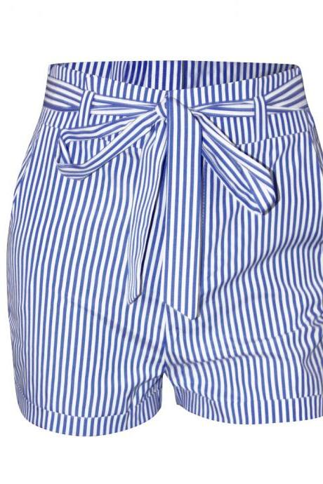 Stripes High Rise Shorts Featuring Bow Accent Tie Belt