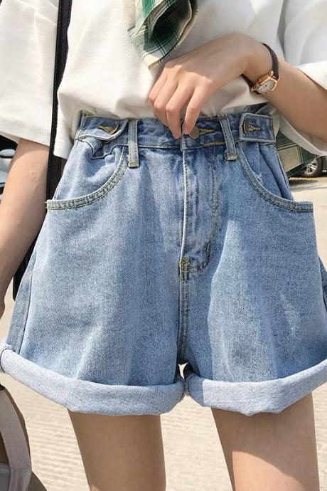 Light-Washed High Rise Cutoff Denim Shorts
