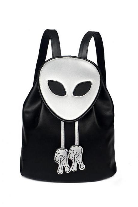 Fashion Alien PU Leather Backpack High Capacity Personality Student Backpack Unisex Travel Backpack