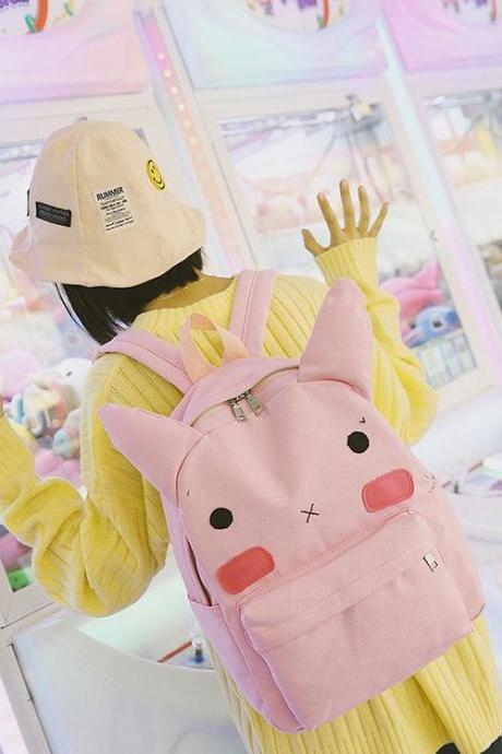Cute Rabbit Ears Backpack Cartoon Student Bag Fashion High Capacity Personality School Backpack
