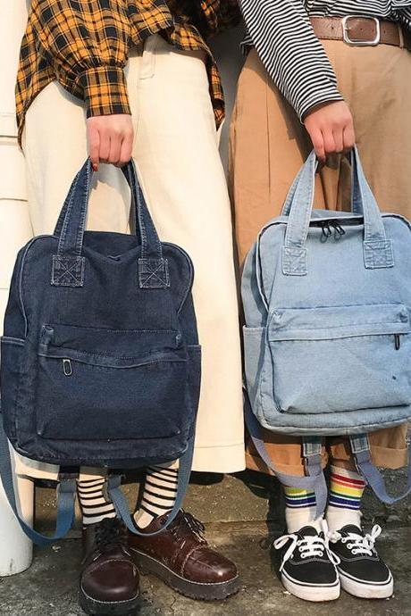 Fashion Denim Backpack Retro Student Backpack Unisex Travel Handbag Backpack