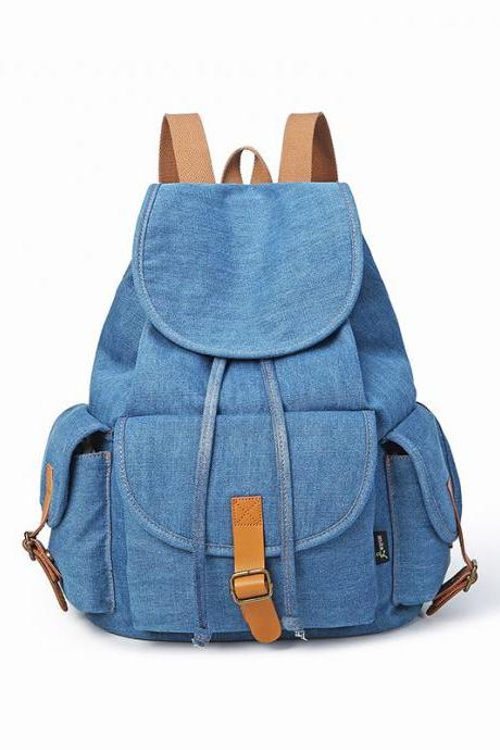 Unisex Retro Denim Backpack Fashion High Capacity Student Backpack Casual Travel Backpack