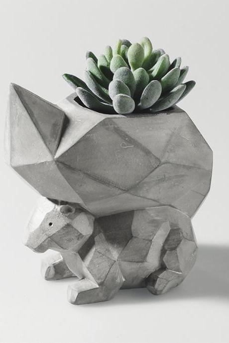 Squirrel Flower Pot Creative Geometric Home Garden Office Decoration Animal Flower Pot