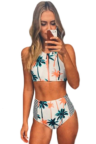 Women Palm Tree Printed Stripe High Waist Swimwear