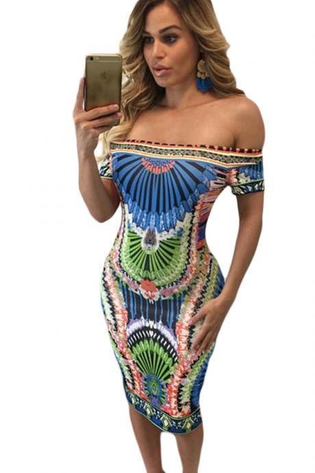 Women Vintage Paisley Print Off Shoulder Sheath Dress