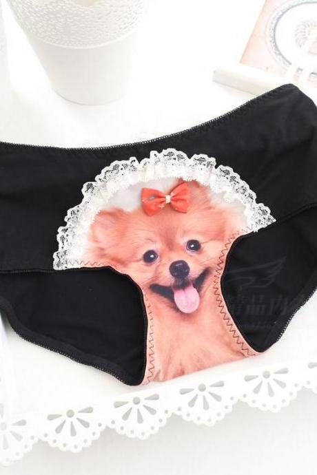 Women Anti Emptied Underpants 3D Dog Head Seamless Ice Silk Briefs