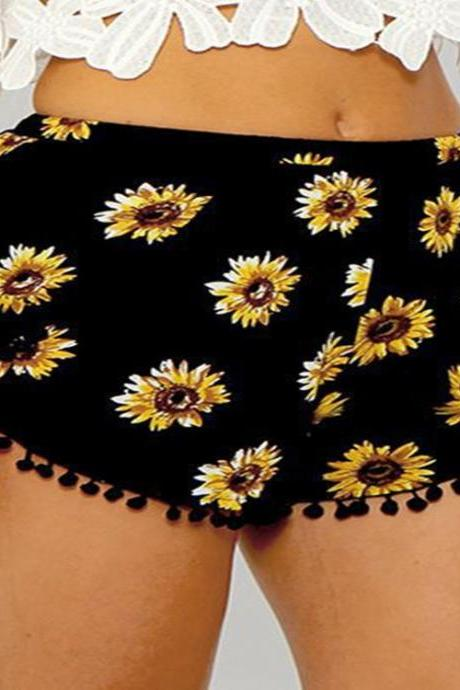 Sunflower Print Short Pants with Pom-Pom Fringe
