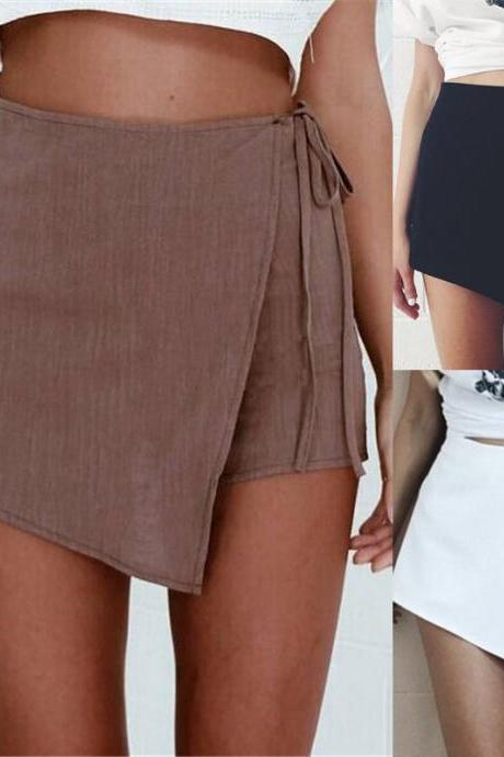 Women Fashion Cotton Flax Shorts Skirt