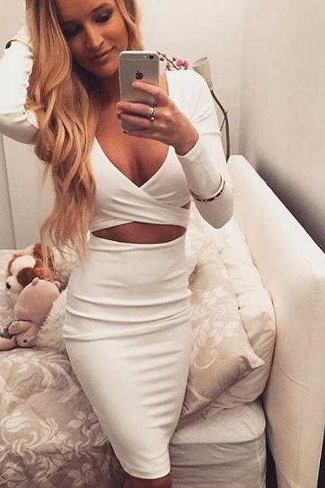 Women Sexy V Neck Long Sleeve Party Dress Plus Size Bandage Dresses