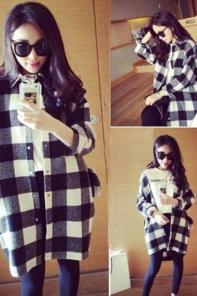 Women Casual Plaid Loose Blouse Long Sleeve Button Down Cardigans Shirts