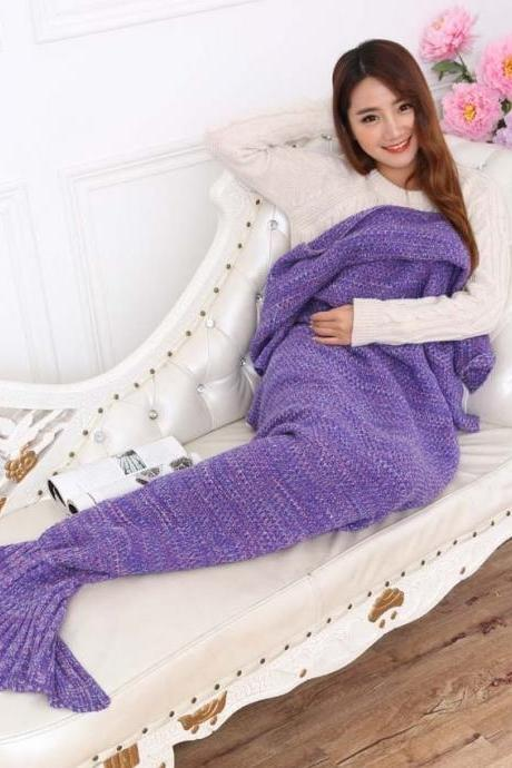 Home Creative Hand Made Warm Knitted Mermaid Tail Shape Blanket Fashion Air Condition Soft Blanket