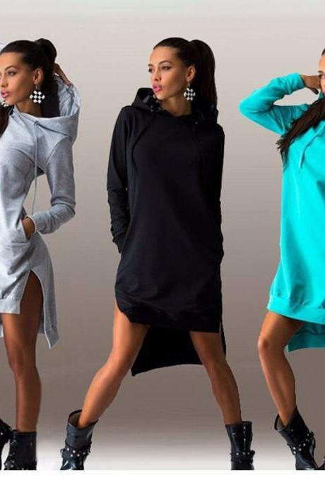 Women's Fashion Long Sleeve Hoodies Hooded Dress Pullover Sweatshirt Coat