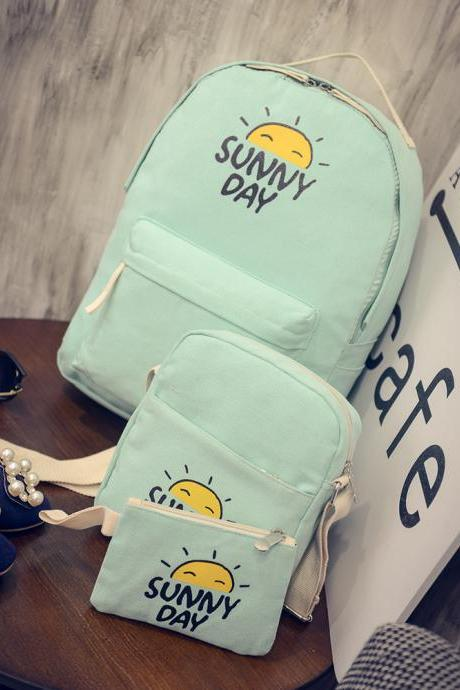 Fashion Three-piece Canvas Bags Student Backpack Messenger Bag Coin Purse