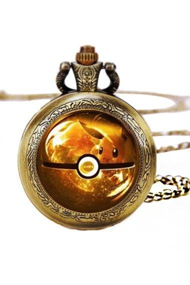 Pokemon Go Eevee Anime Necklace Quartz Pocket Watches Necklace Pendant Unisex Gift