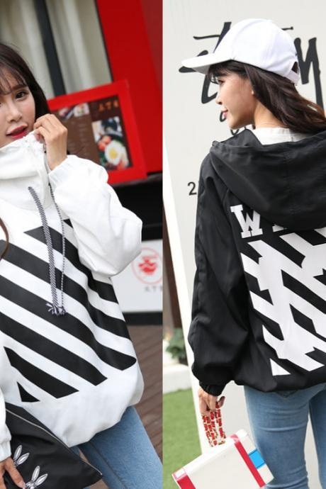 Women Fashion Personality Printing Stripe Hooded Jackets Sweatshirts Coat