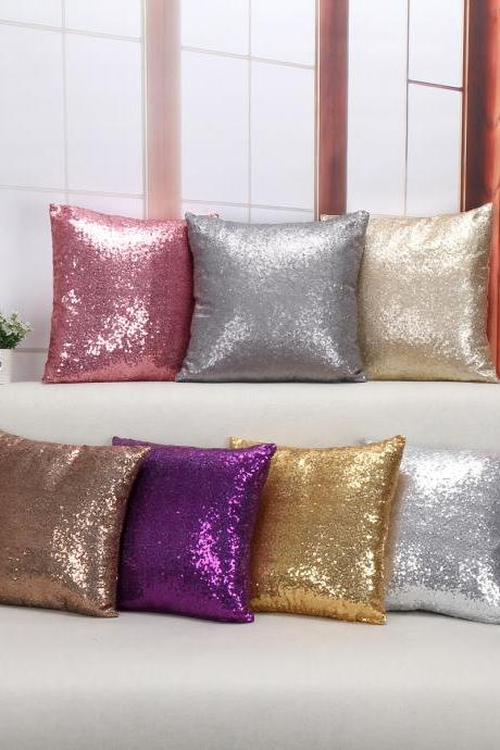 Fashion European Style Sequins Sofa Pillowcase Cushion (Without Pillow Core)