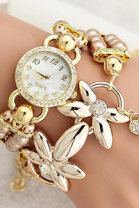 Women Pearl Butterfly Bracelet Watch Personality Fashion Watch