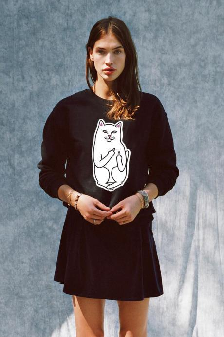 RIPNDIP Unisex Men and Women Round Neck Pocket Cat Couple Sweatshirts