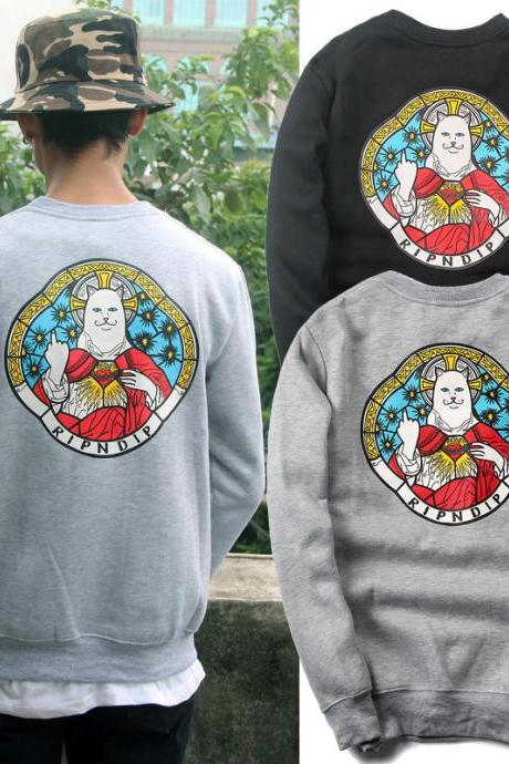 RIPNDIP Unisex Men and Women Pocket Cat Goddess Couple Sweatshirts