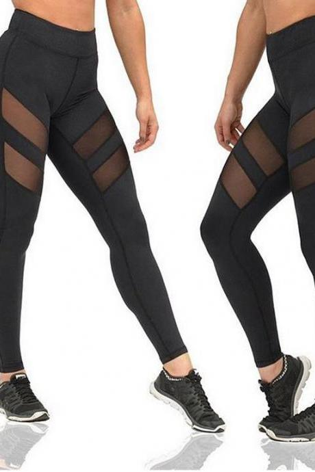 Women Hollow Perspective Splicing Yoga Pants Large Size Sports Leggings Running Pants