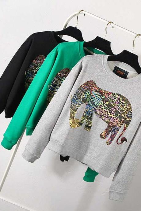 Women Cartoon Elephant Loose Sweater Long Sleeves Round Neck Hooded Sweatshirt