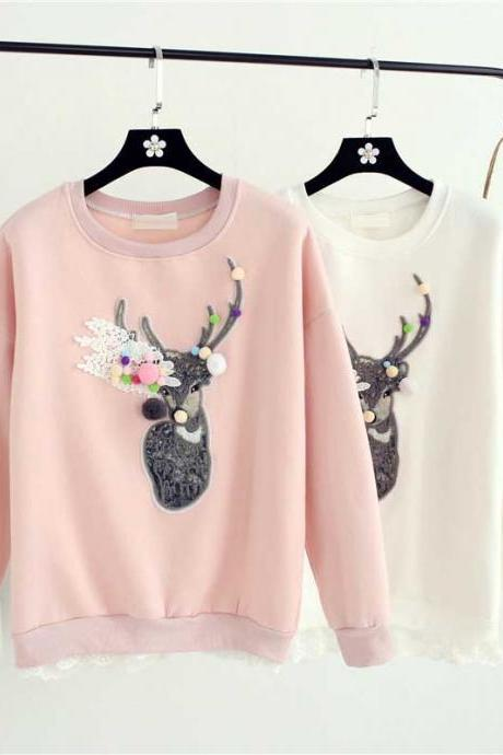 Women Lovely Deer Printing Lace Flower Sweater Embroidery Reindeer Round Neck Loose Sweatshirt