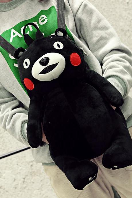 Kumamon Backpack Personality Lovely Cartoon Doll Hand Warmer School Bag