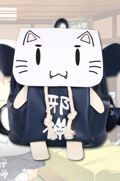 Fashion Animation Cat Wing Backpack PU Student Bag Canvas School Bag