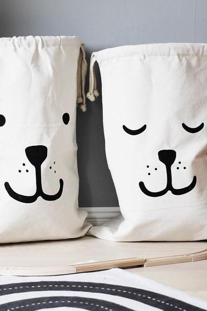 Cartoon Bear Cotton Oversized Storage Bag Children's Room Toy Home Debris Canvas Storage Bag