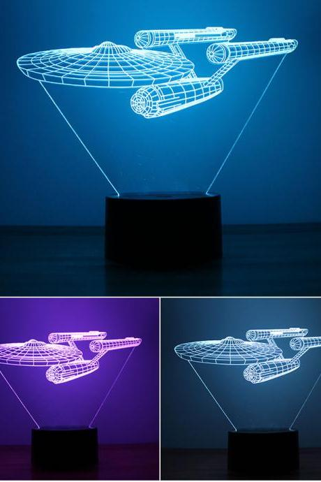 3D Star Trek Ships Light Colorful 7 Colors LED Visual Light Touch